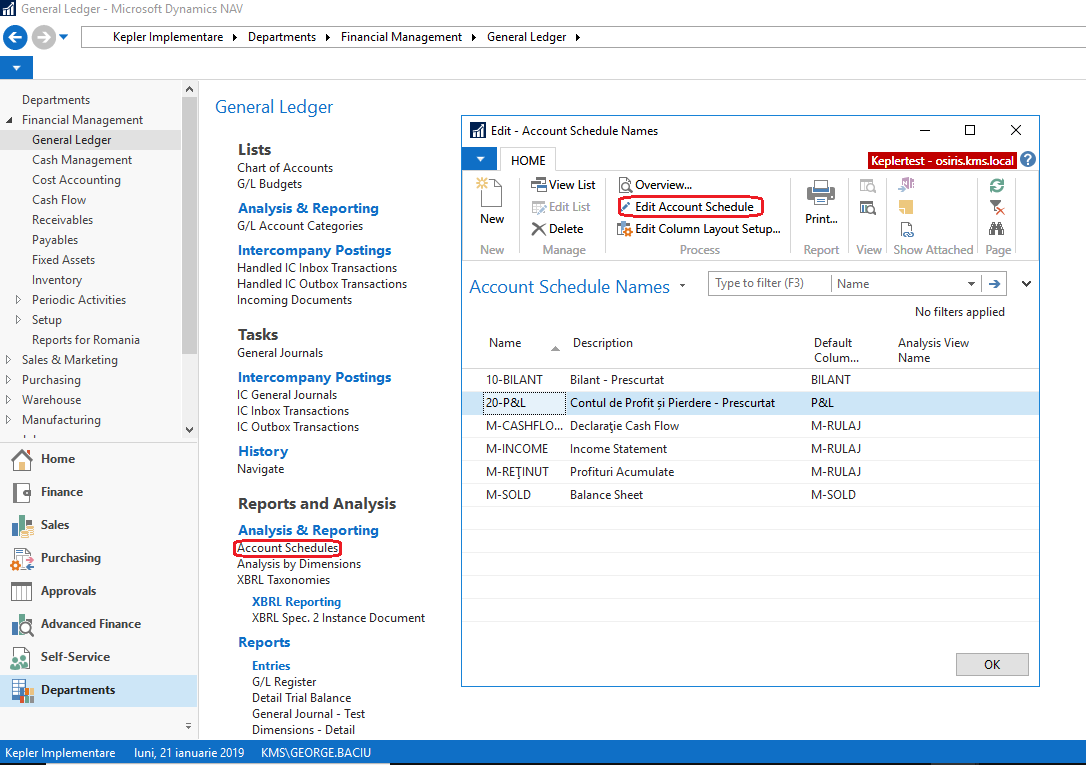 Account Schedules in Dynamics NAV - Kepler Management Systems