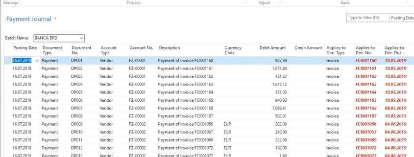 Microsoft Dynamics NAV - Navision - Payment Journals Line