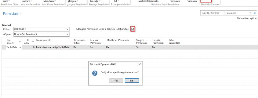 Dynamics NAV Navision -Activare înregistrare permisiuni