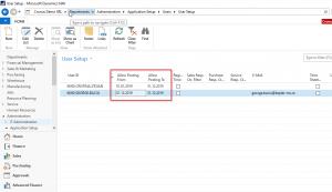Navision - Dynamics NAV - User posting date setup