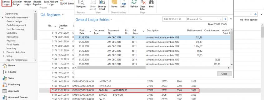 Dynamics NAV - Navision -General Ledger Registers - GL Entries