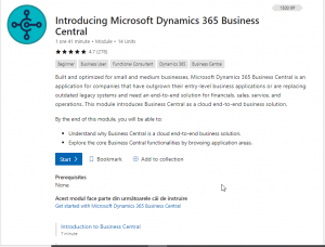 Dynamics 365 Business Central - Început Modul