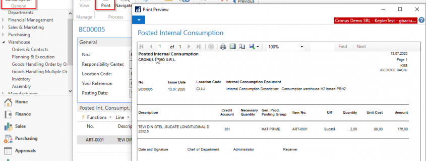 Dynamics NAV (Navision) - Consumption Note