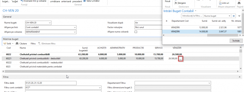 Dynamics NAV (Navision) -Sume intrări bugete contabile