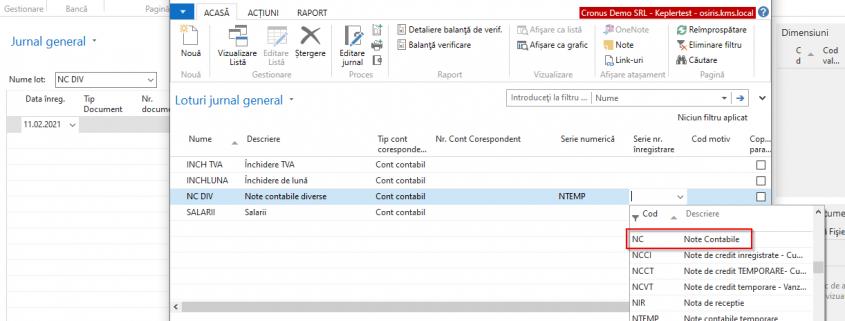 Dynamics NAV (Navision) - Selectare serie numerică note contabile