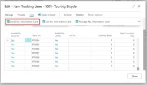 Dynamics 365 Business Central -Fișă info serie numerică