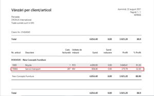 Dynamics Business Central (Navision) -Raport vânzări client per articol service